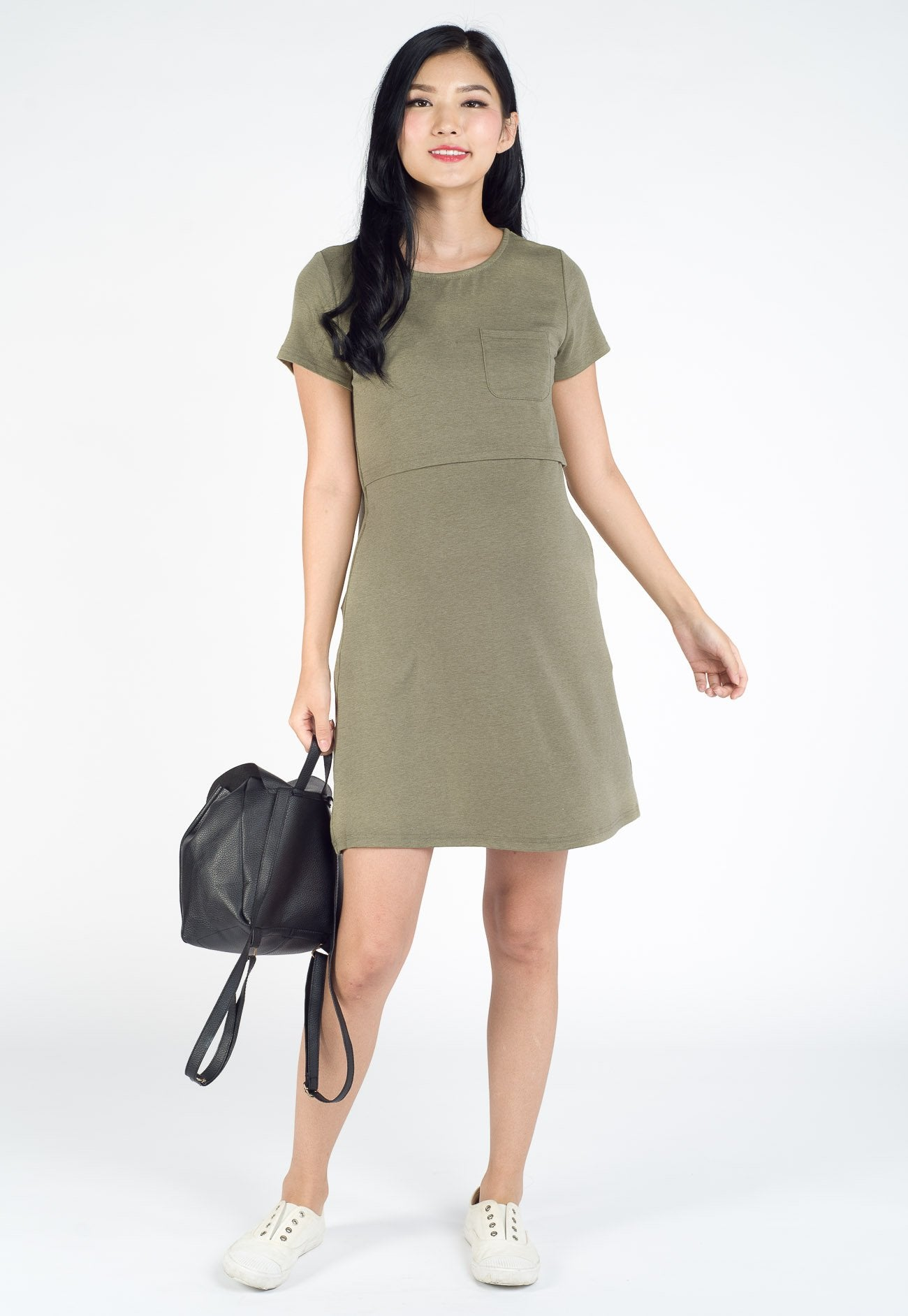 Hazel T-Shirt Nursing Dress in Green  by Jump Eat Cry - Maternity and nursing wear