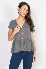 Ivy Flared Hem Nursing Top in Grey  by Jump Eat Cry - Maternity and nursing wear