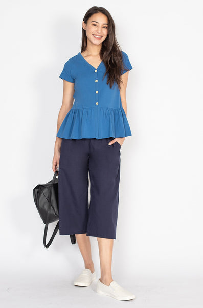 Ivy Flared Hem Nursing Top in Blue
