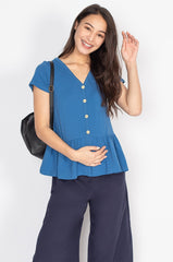 Ivy Flared Hem Nursing Top in Blue  by Jump Eat Cry - Maternity and nursing wear