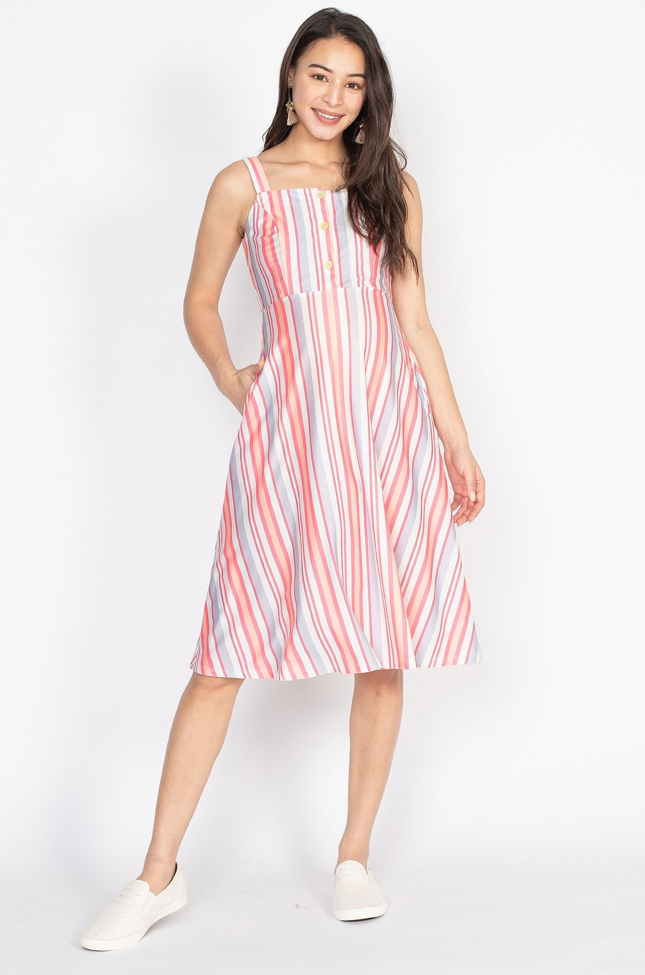 Juliet Rainbow Stripes Nursing Dress  by Jump Eat Cry - Maternity and nursing wear