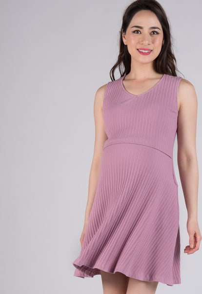 Pink Babydoll Knitted Nursing Dress