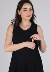 Mothercot Black Babydoll Knitted Nursing Dress  by JumpEatCry - Maternity and nursing wear