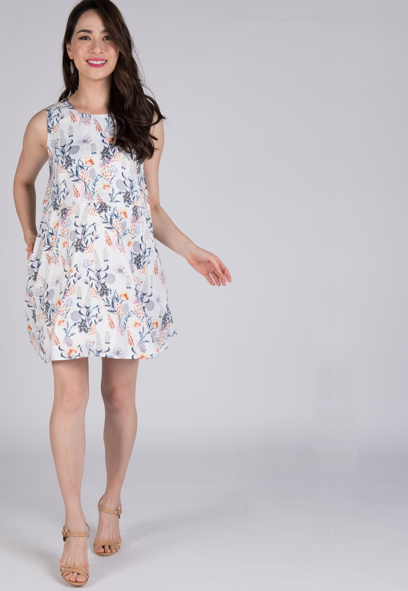Mothercot Floral Prints Pocket Nursing Dress  by JumpEatCry - Maternity and nursing wear