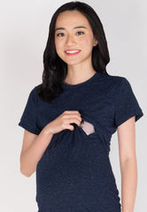 Enjoy The Moment Nursing Dress in Navy  by Jump Eat Cry - Maternity and nursing wear