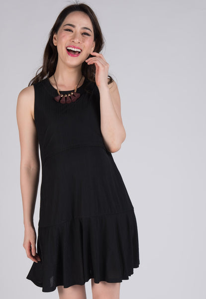 Black Mystic Drop Waist Nursing Dress