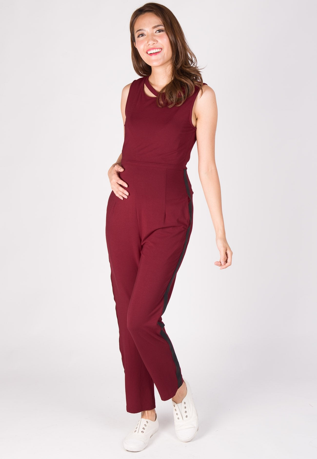Sporty Side Band Nursing Jumpsuit in Maroon Nursing Wear Mothercot