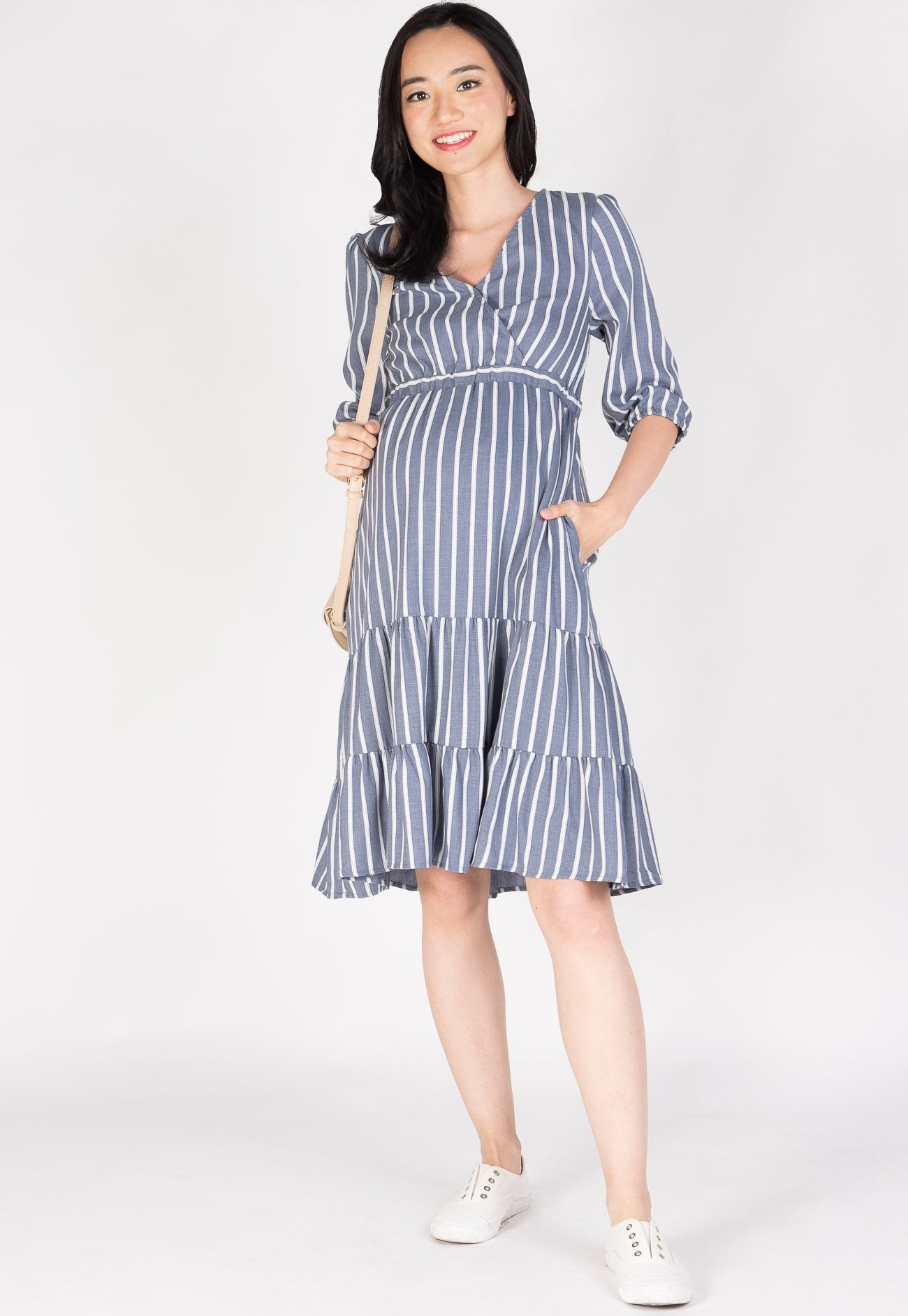 Thought Is Free Nursing Dress in Blue Nursing Wear Mothercot
