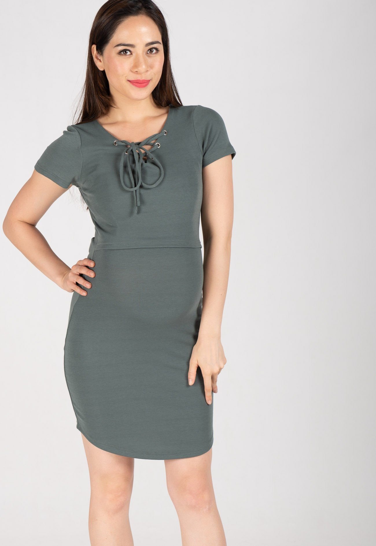 Lace Up Bodycon Nursing Dress in Green  by Jump Eat Cry - Maternity and nursing wear