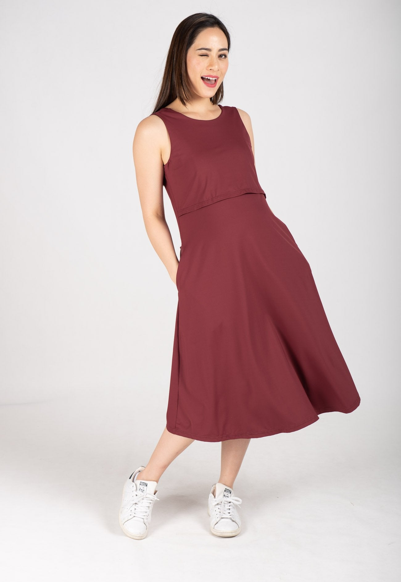 Mothercot Ally Midi Nursing Dress in Red  by JumpEatCry - Maternity and nursing wear