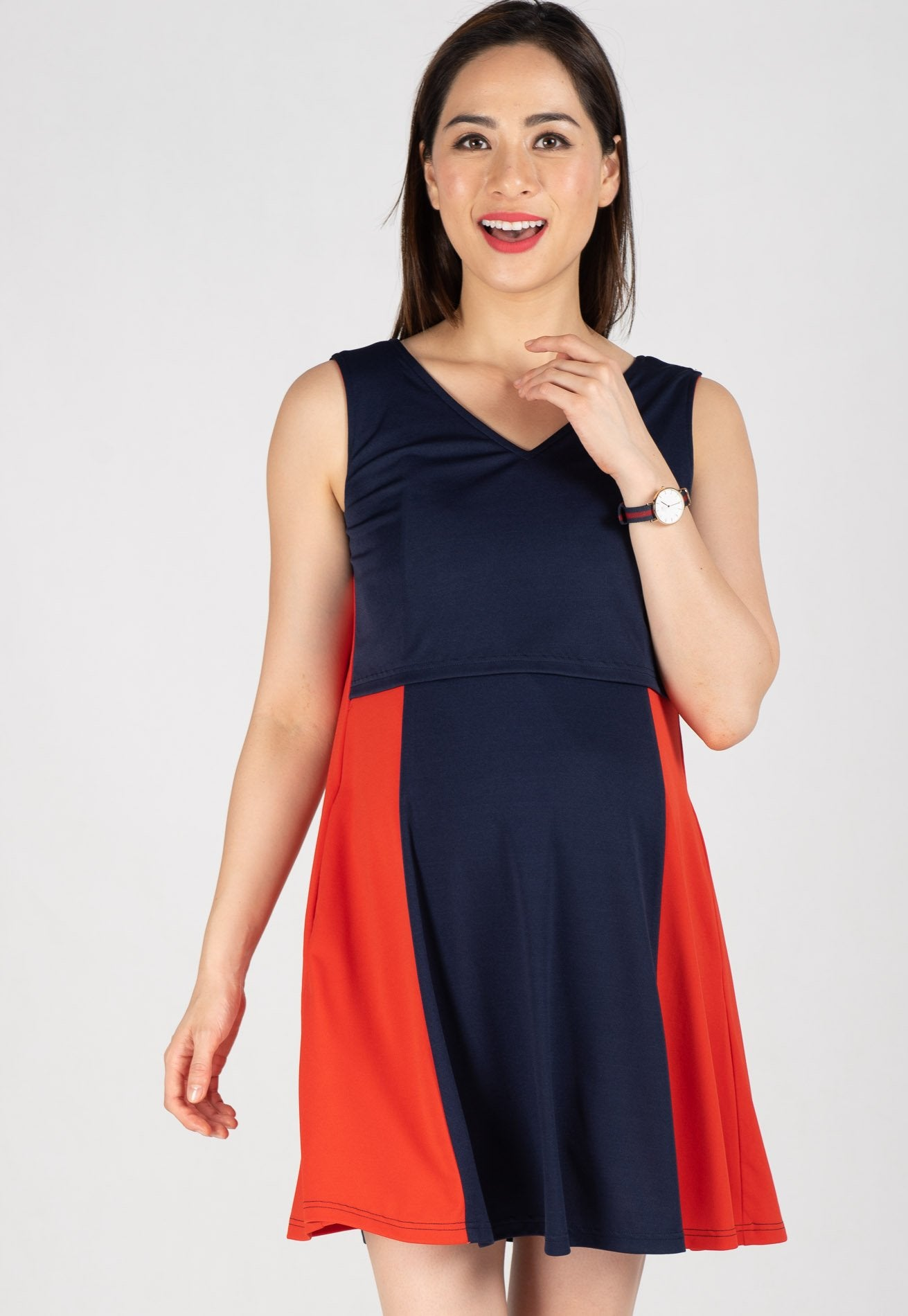 Two Toned Swing Dress Nursing Wear Mothercot