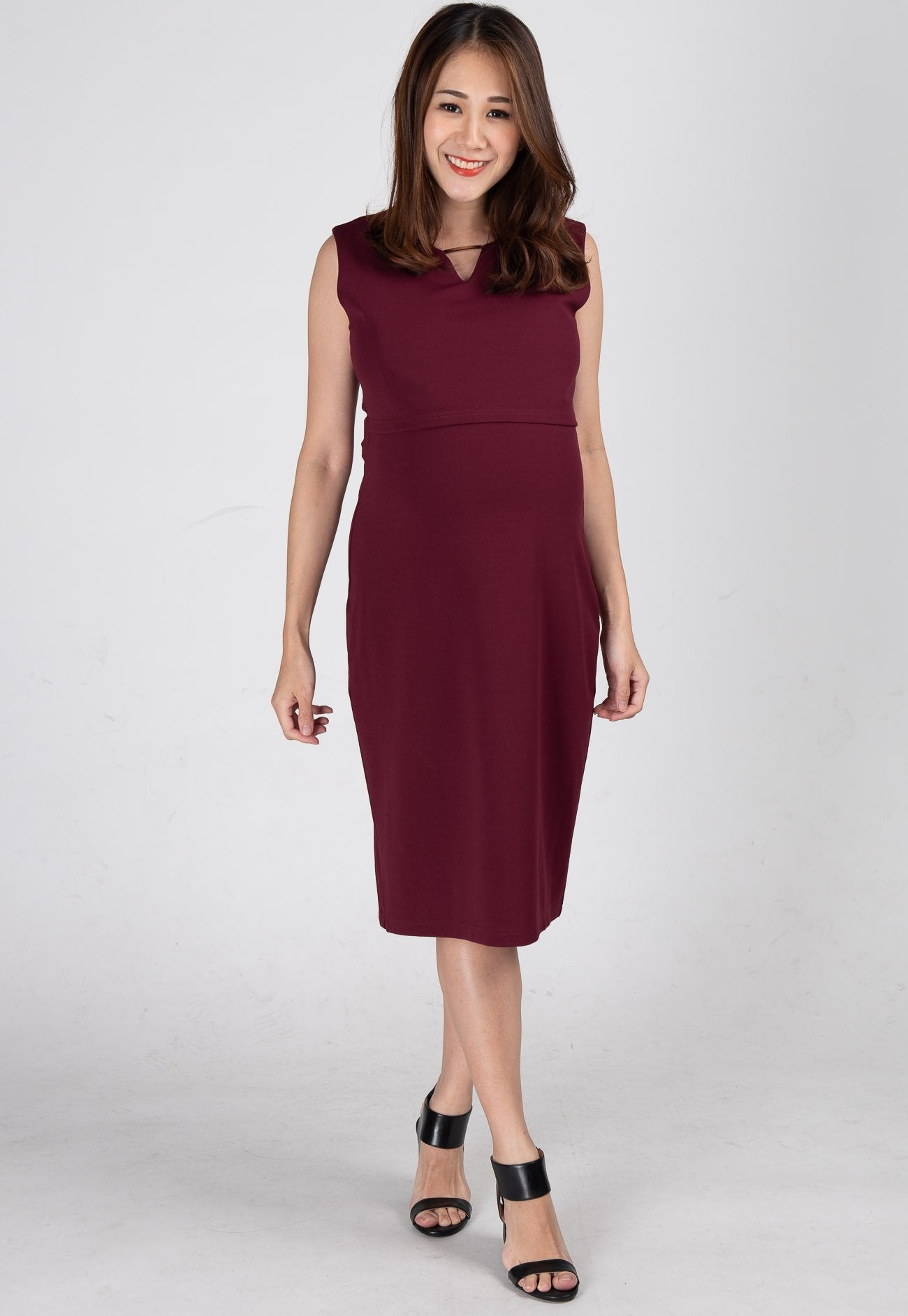 Mothercot Evelin Bodycon Nursing Dress in Red  by JumpEatCry - Maternity and nursing wear