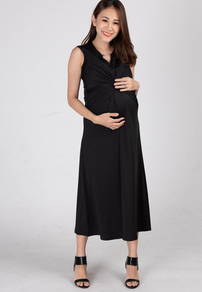 Twist Front Nursing Midi Dress in Black