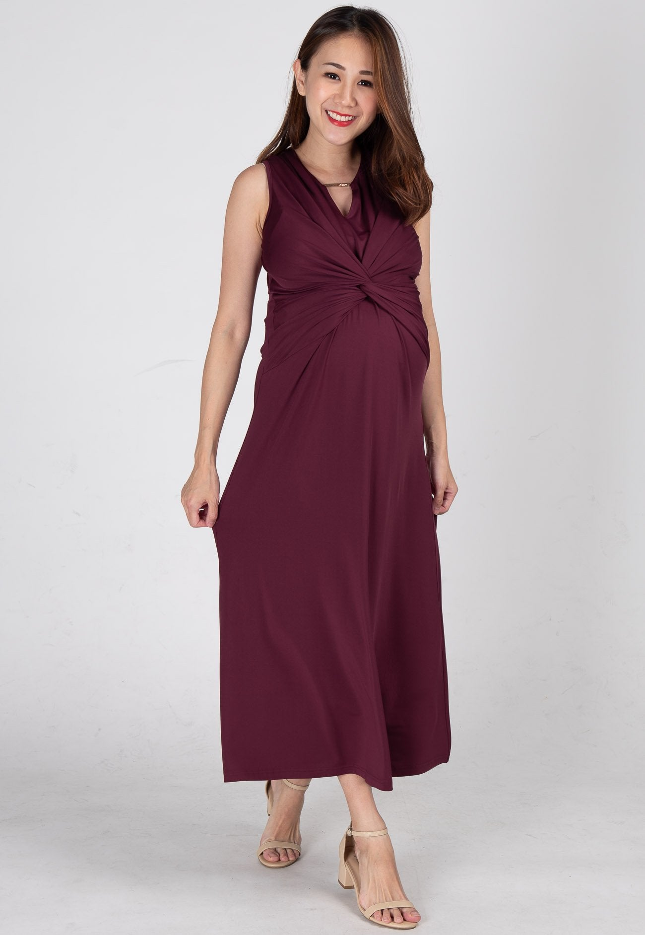 Twist Front Nursing Midi Dress in Red