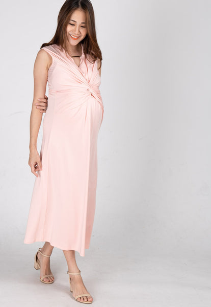 Twist Front Nursing Midi Dress in Peach