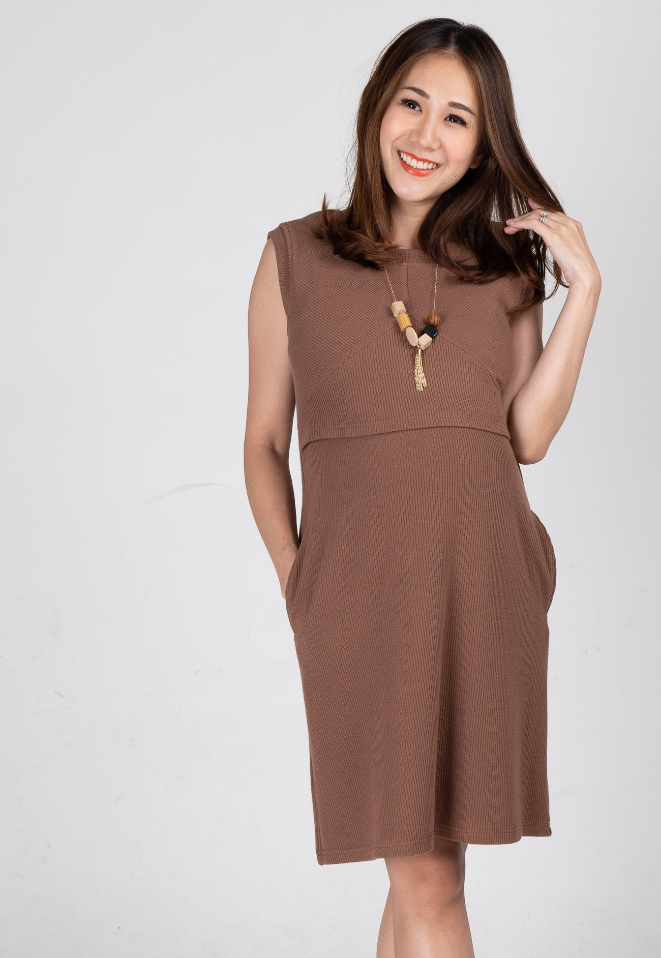 Mothercot Cassiel Knit Nursing Dress in Grey Brown  by JumpEatCry - Maternity and nursing wear