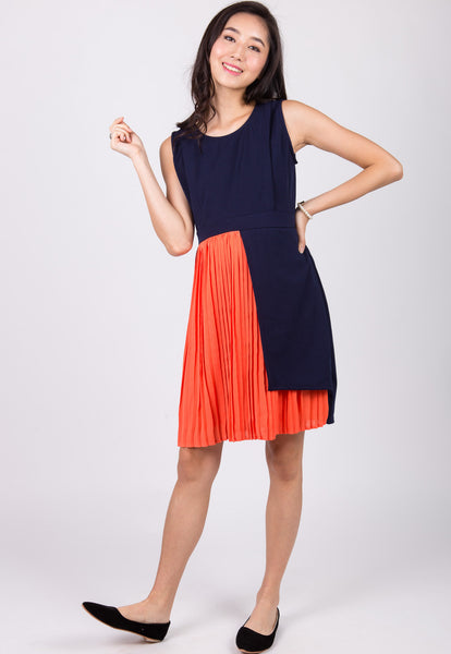 Orange Pleated Nursing Dress