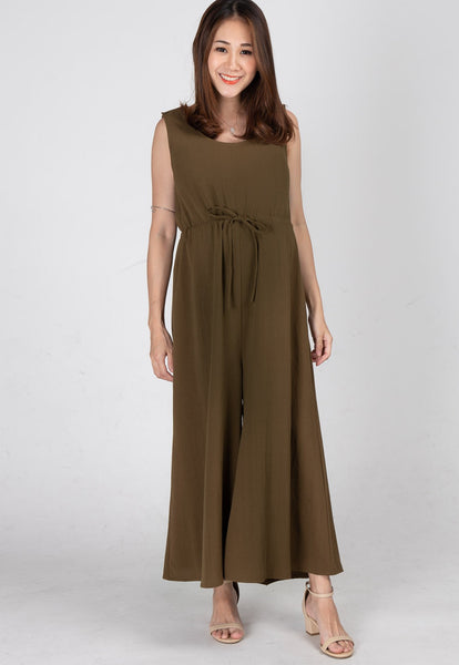 Ariella Nursing Jumpsuit in Olive Green