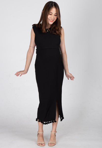 Drop Tasseled Midi Nursing Dress in Black