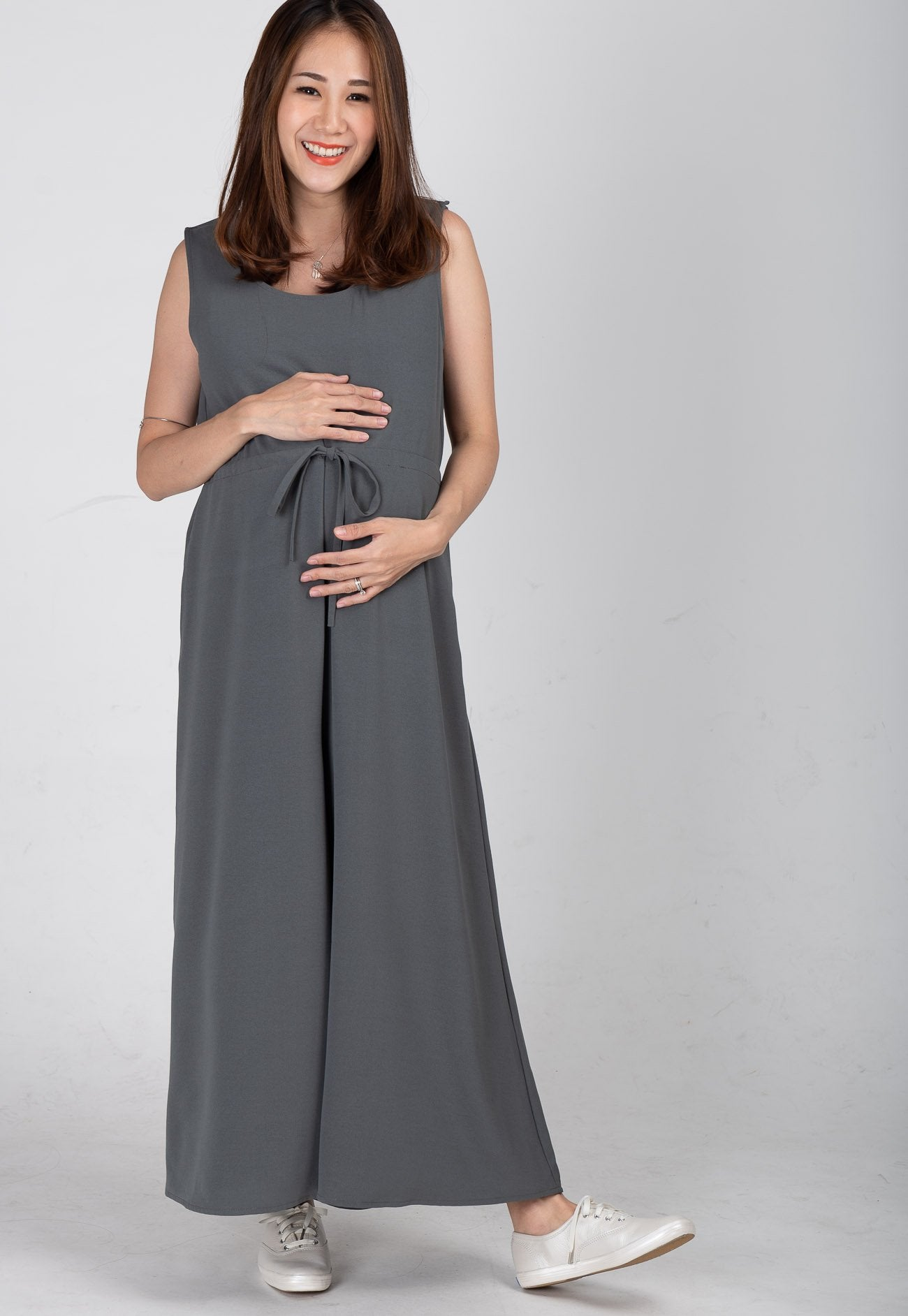 Mothercot Ariella Nursing Jumpsuit in Dark Grey  by JumpEatCry - Maternity and nursing wear
