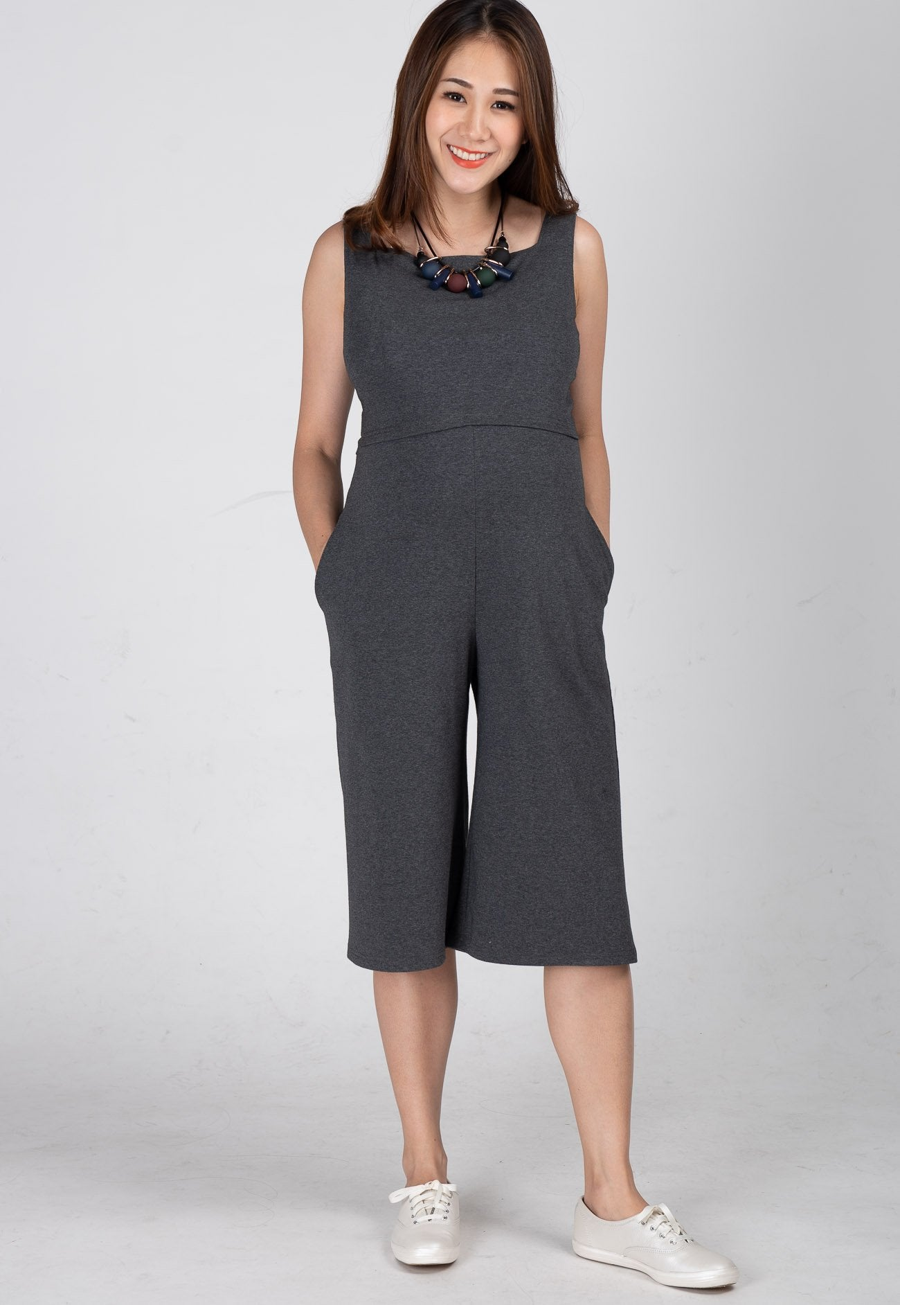 Mothercot Smart Casual Nursing Jumpsuit in Grey  by JumpEatCry - Maternity and nursing wear