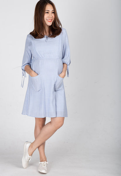 Sweetheart Striped Nursing Dress