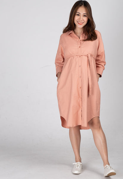 Boyfriend Nursing Shirtdress in Blush