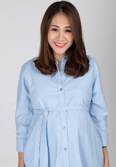 Mothercot Boyfriend Nursing Shirtdress in Blue  by JumpEatCry - Maternity and nursing wear