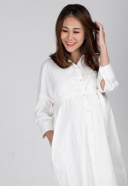 Boyfriend Nursing Shirtdress in White