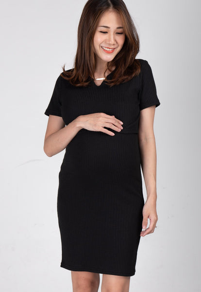 Nelya Ribbed Knit Nursing Dress in Black