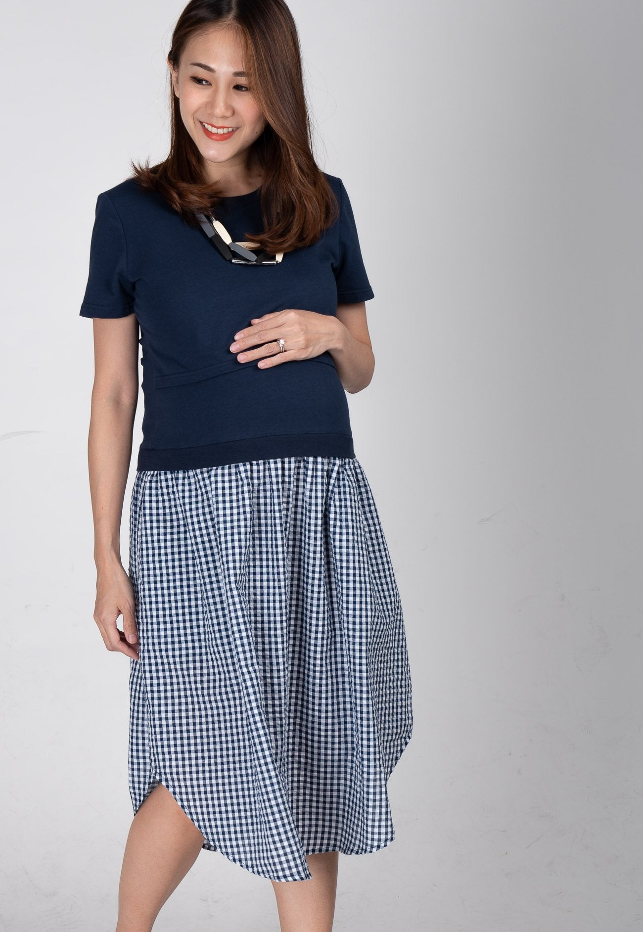 bcd036be94c Gingham Nursing Midi Dress by Jump Eat Cry - Maternity and nursing wear