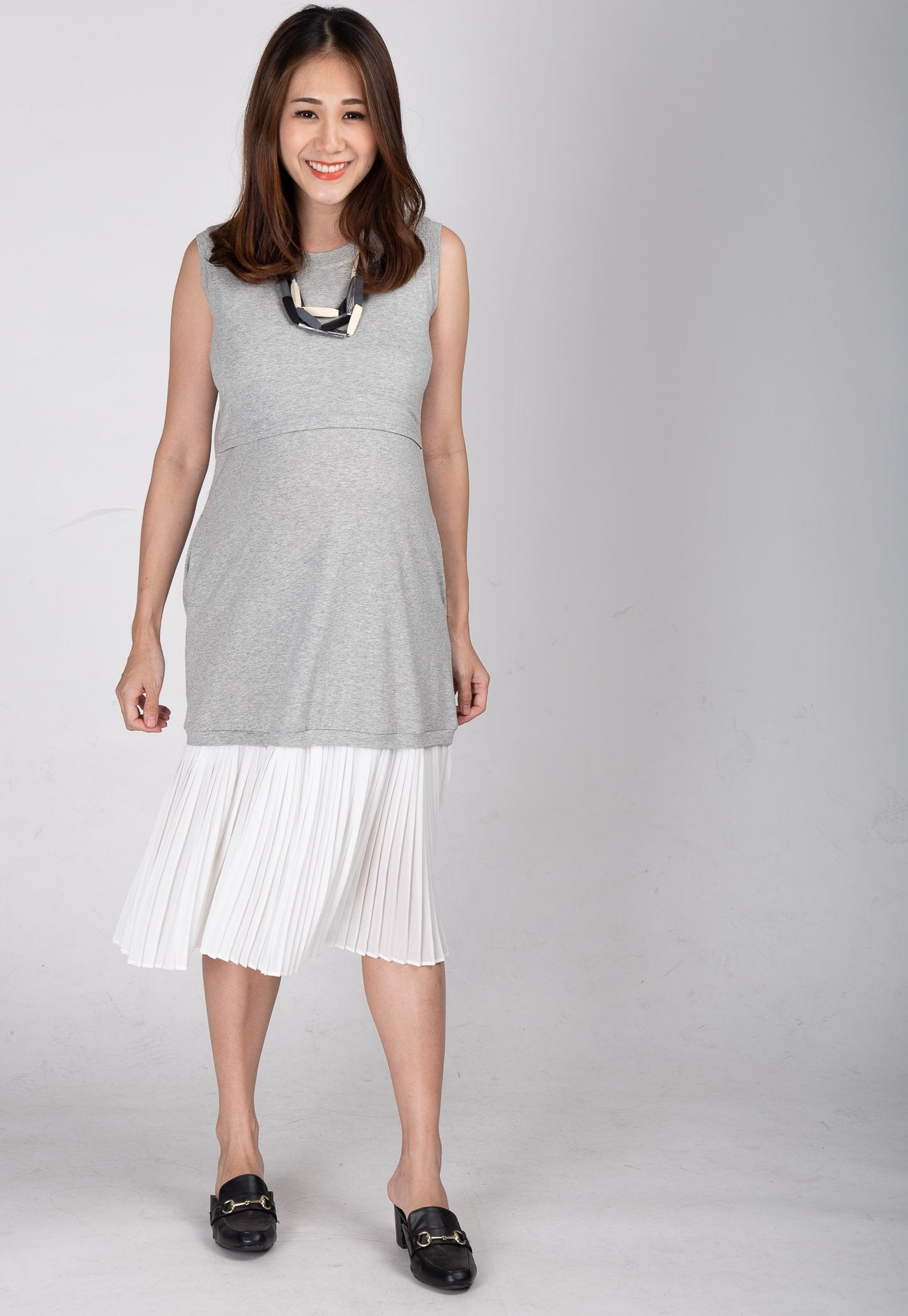 Alvanda Pleated Nursing Dress Nursing Wear Mothercot