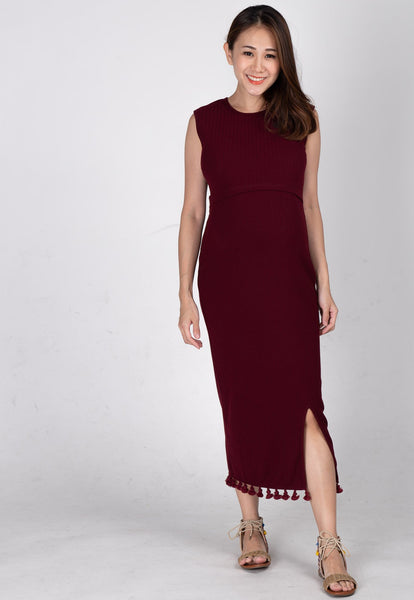 Drop Tasseled Midi Nursing Dress in Red