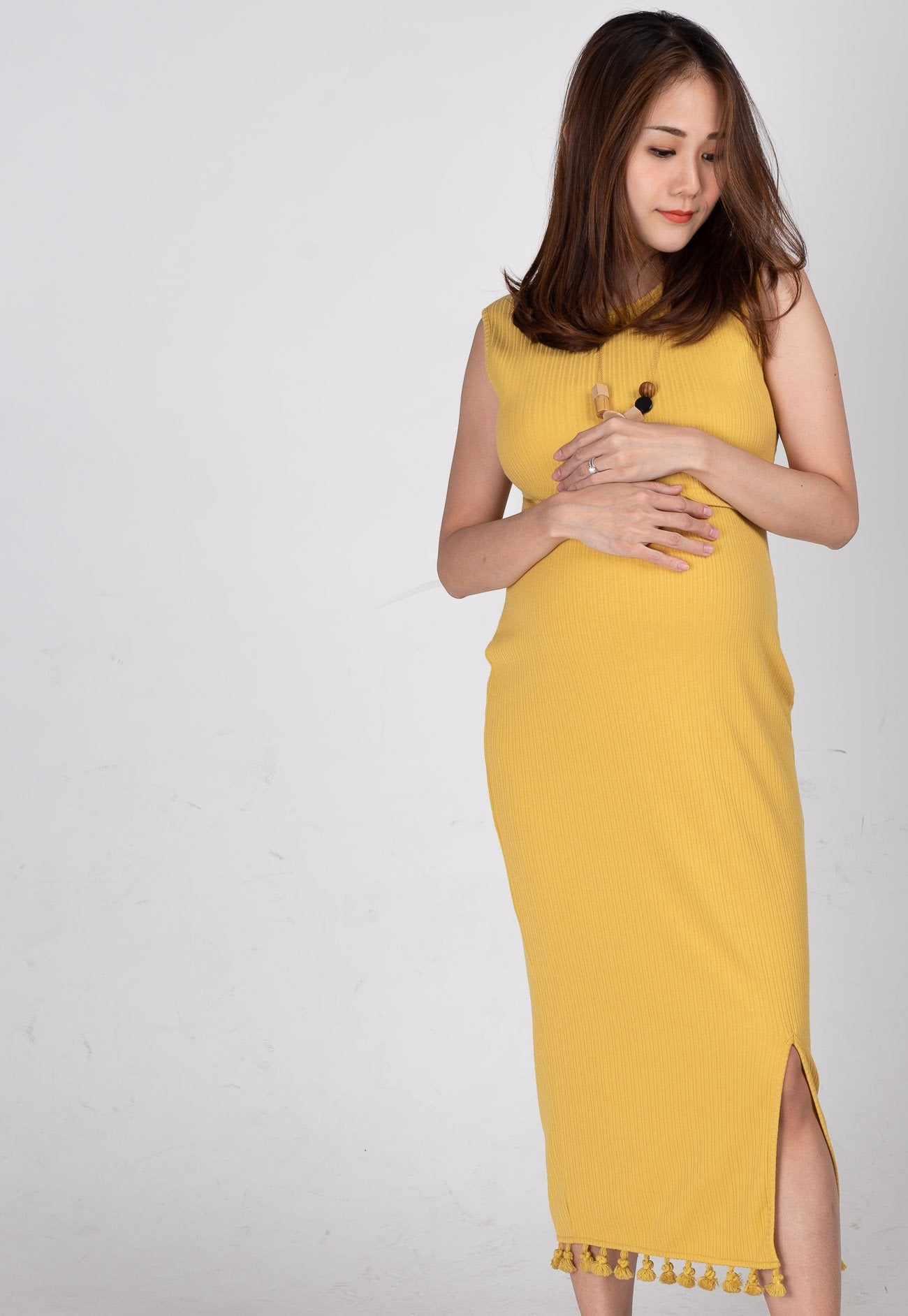 Drop Tasseled Midi Nursing Dress in Yellow  by Jump Eat Cry - Maternity and nursing wear