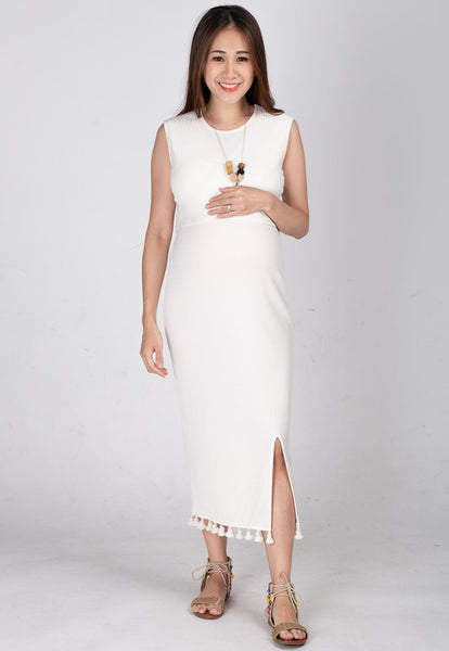 Drop Tasseled Midi Nursing Dress in White