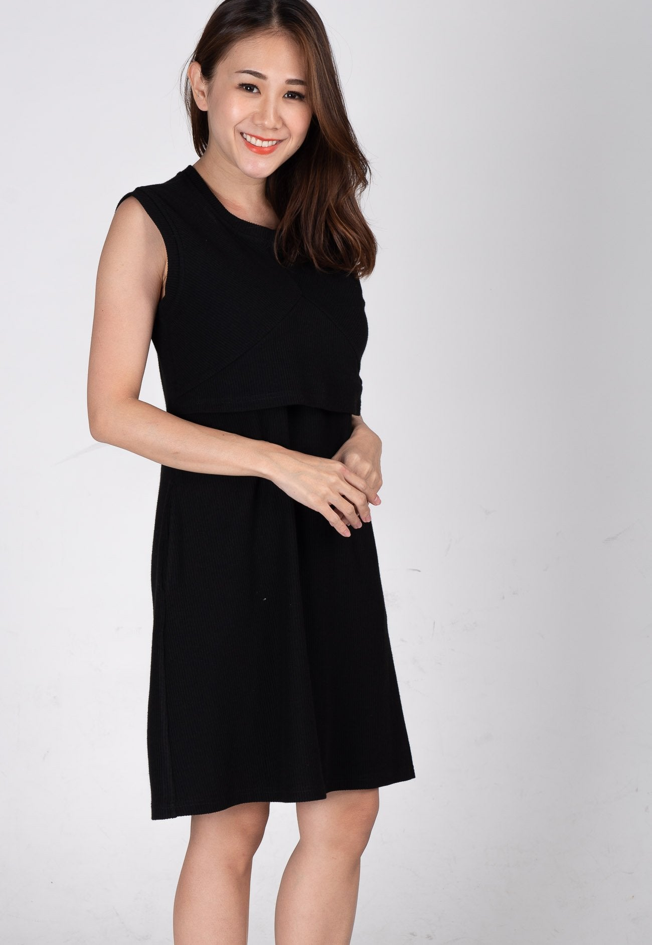 Mothercot Cassiel Knit Nursing Dress in Black  by JumpEatCry - Maternity and nursing wear