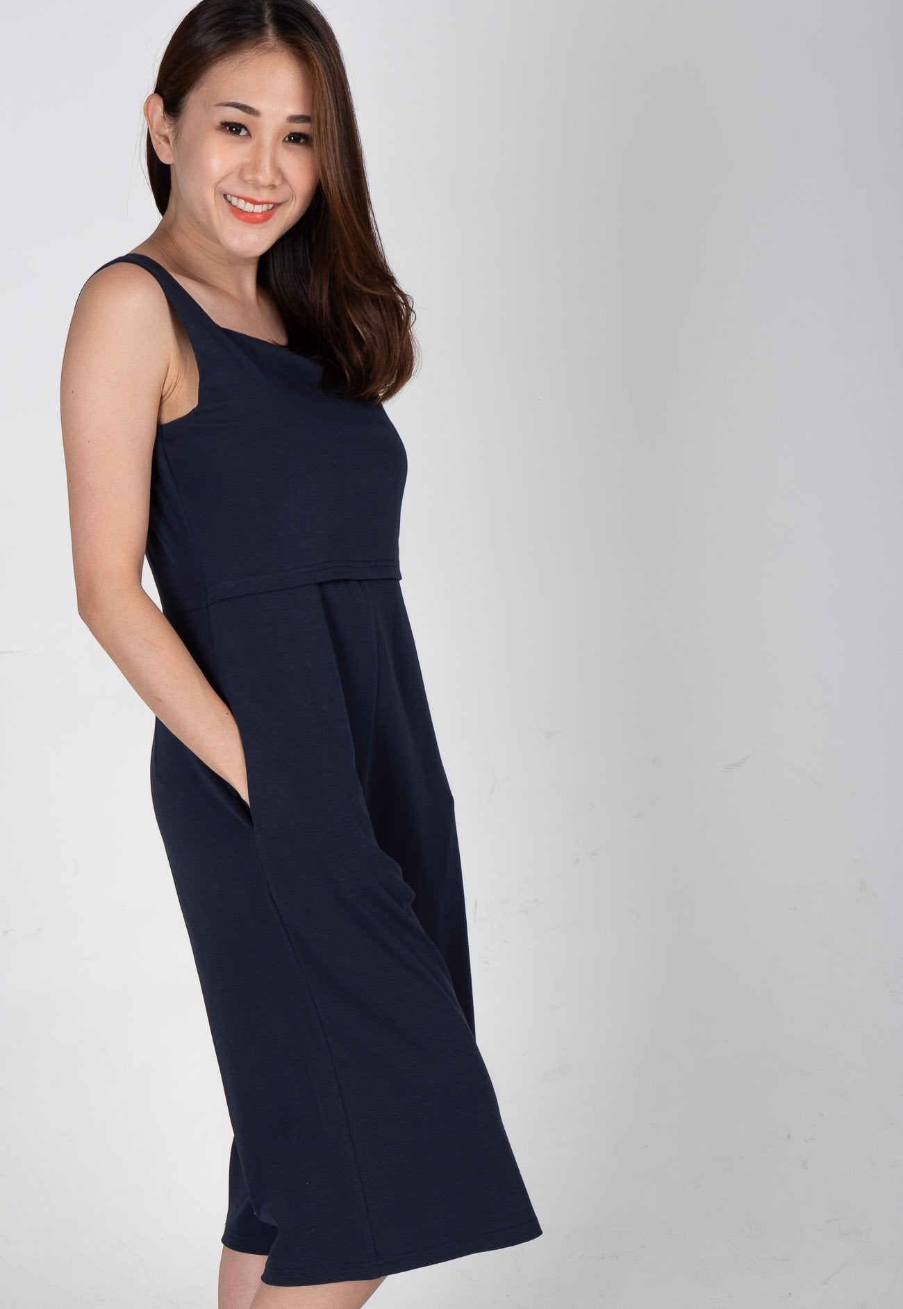 2c2fd8332 ... Smart Casual Nursing Jumpsuit in Navy Nursing Wear Mothercot ...
