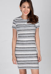 Stripes Knitted Nursing Dress in Grey  by Jump Eat Cry - Maternity and nursing wear