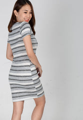 Mothercot Grey Stripes Knitted Nursing Dress  by JumpEatCry - Maternity and nursing wear