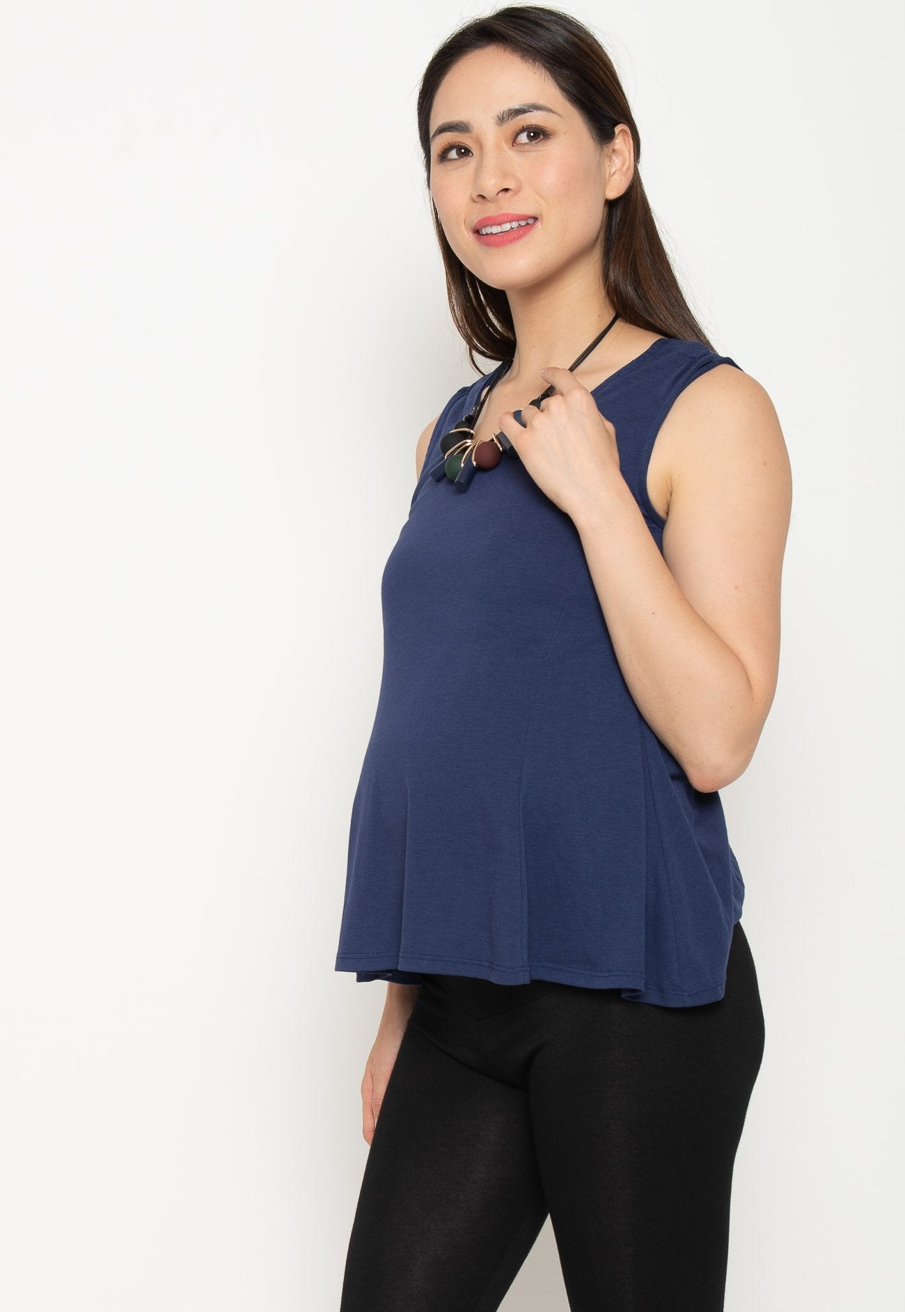 Clio Nursing Swing Top in Navy Nursing Wear Mothercot