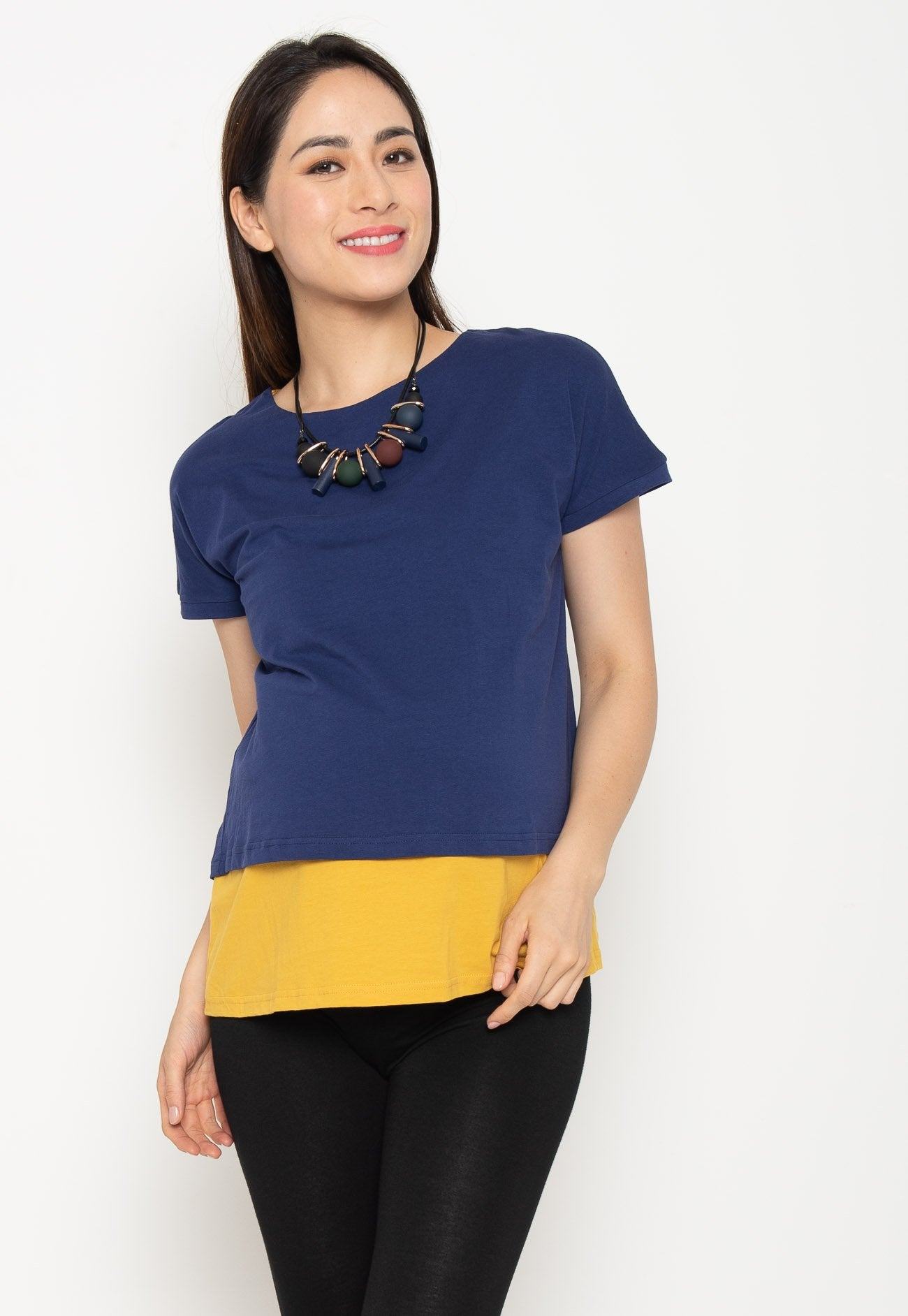 ad8af0651c4c3 Two Tone Layered Nursing Top in Navy and Yellow – Jump Eat Cry