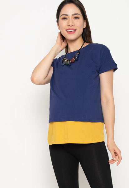 Two Tone Layered Nursing Top in Navy and Yellow
