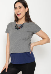 Two Tone Layered Nursing Top in Grey and Navy Nursing Wear Mothercot