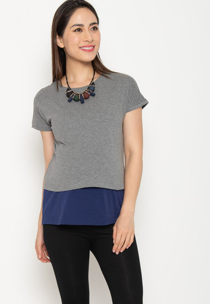 Two Tone Layered Nursing Top in Grey and Navy