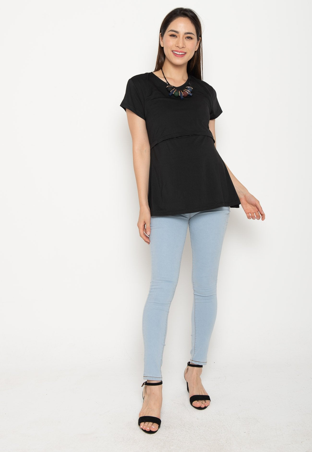 Mothercot Cato Basic Nursing Tee in Black  by JumpEatCry - Maternity and nursing wear