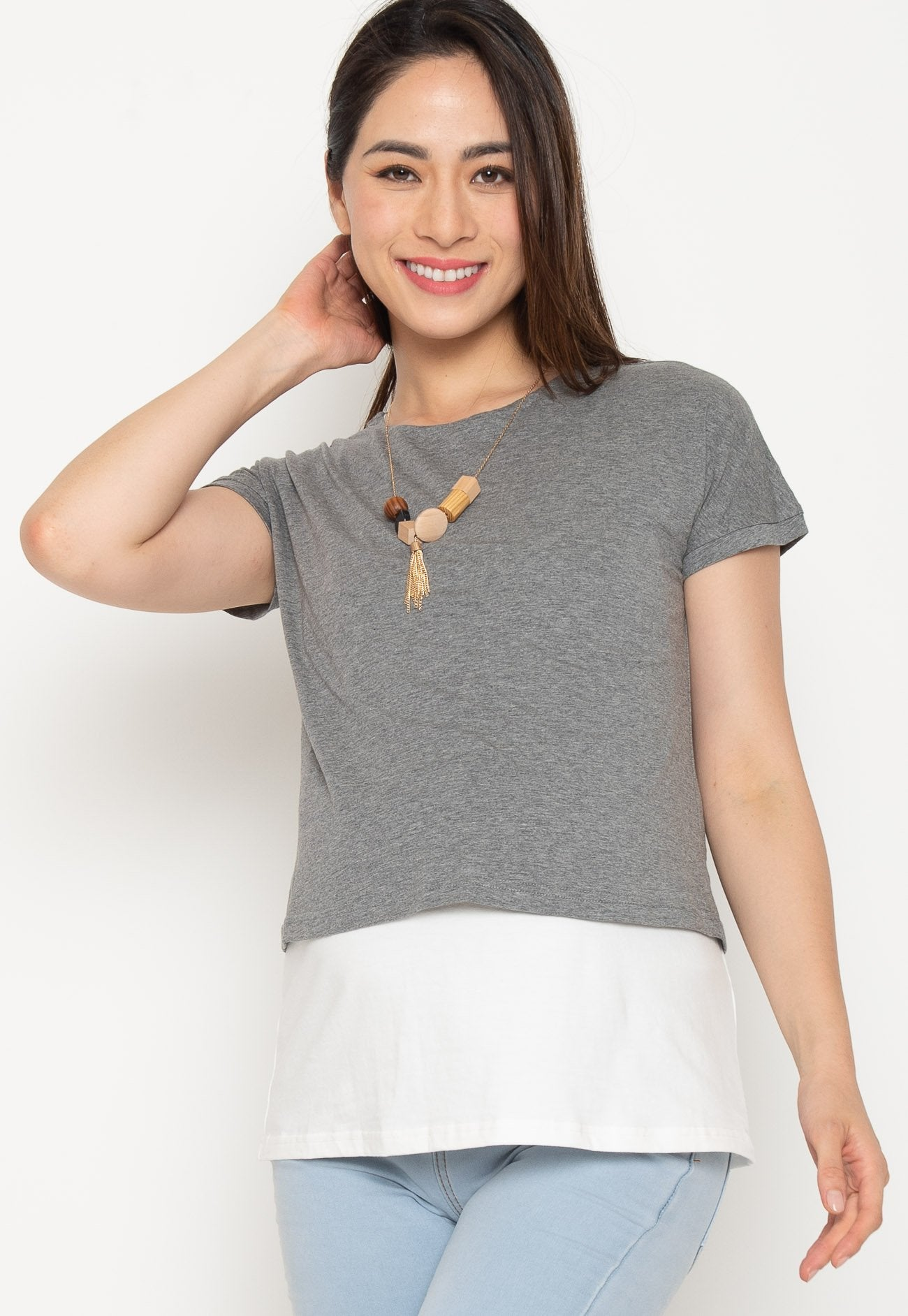 Two Tone Layered Nursing Top in Grey and White Nursing Wear Mothercot
