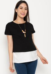 Two Tone Layered Nursing Top in Black and White Nursing Wear Mothercot