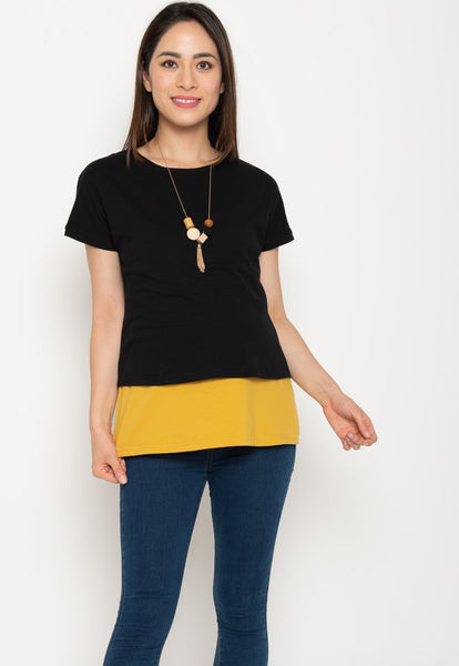 Two Tone Layered Nursing Top in Black and Yellow