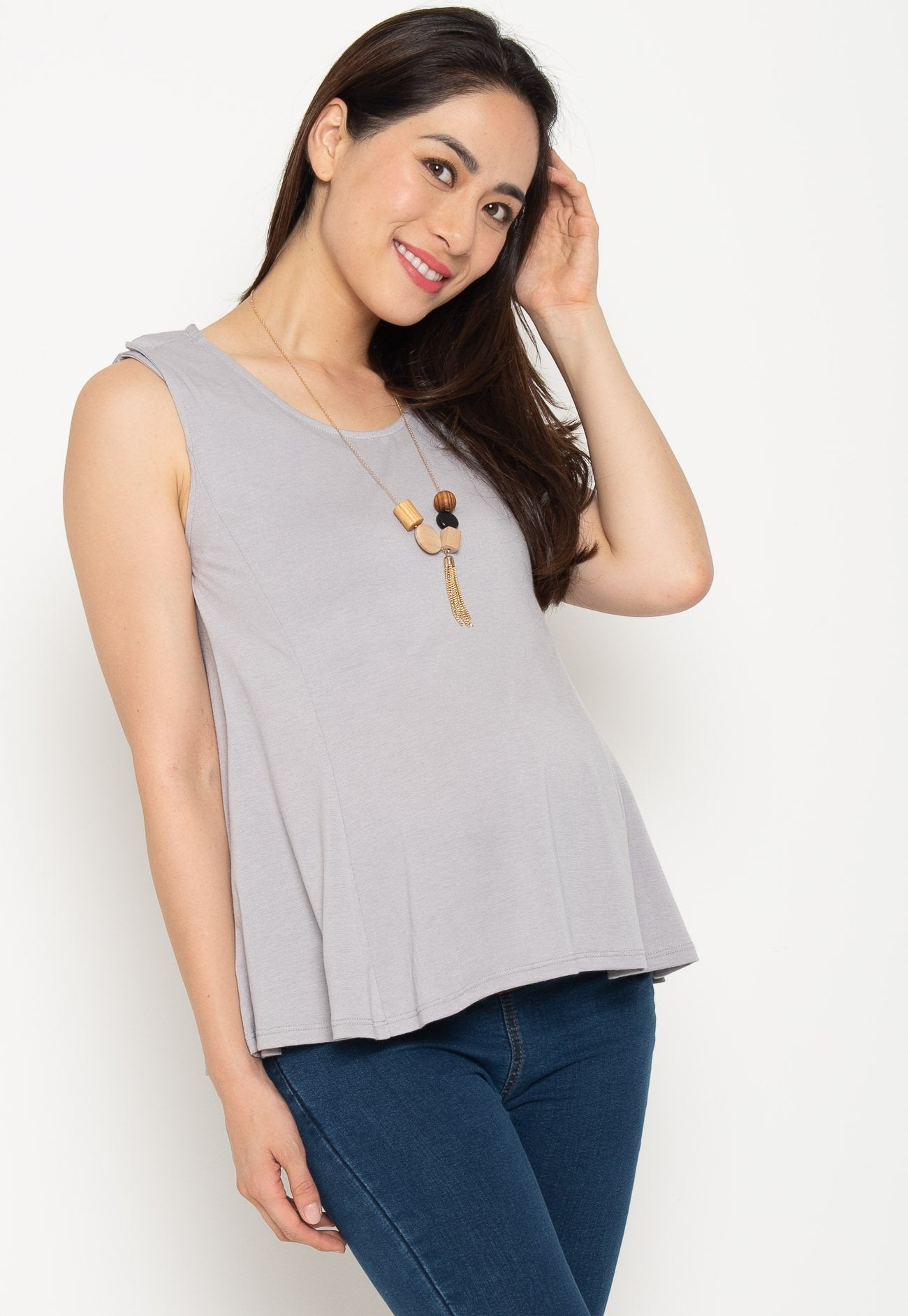 Clio Nursing Swing Top in Grey  by Jump Eat Cry - Maternity and nursing wear