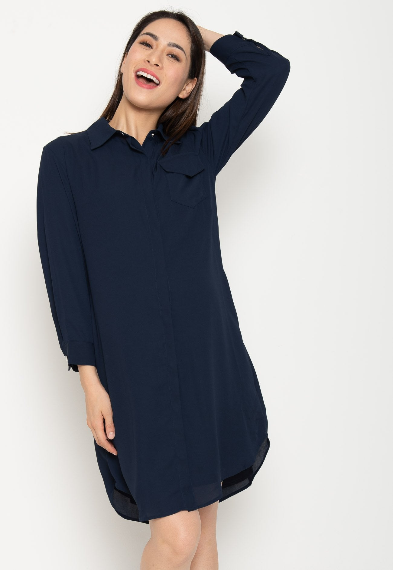 Sejal Nursing Shirtdress in Navy Nursing Wear Mothercot